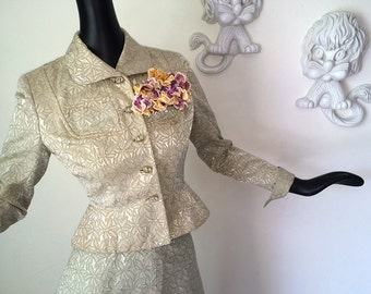 Rockabilly 50s Suit Vintage 1950s New Look Skirt & Jacket Floral Brocade 2 Piece 50s Dress I Love Lucy Lilli Ann Style Milady's Youthcraft S