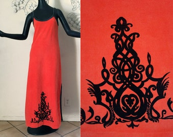 Vintage 70s Maxi Dress Tribal Tattoo Border Print Deep Orange Cotton Velour 1970s Swimsuit Cover Up Goth Gothic goes to the Beach! Small