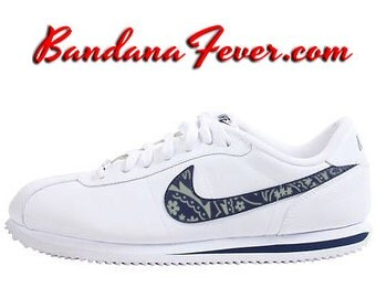 "Nike ""OG Metallic Silver Bandana"" Cortez Leather White/Navy Swoosh by Bandana Fever"