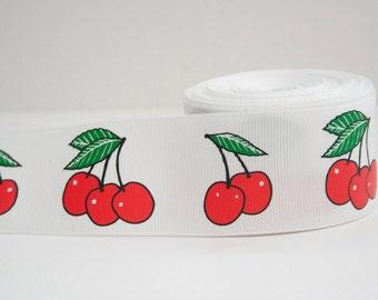 Cherry Print Extra Wide 1.5in Grosgrain Ribbon - 1yd