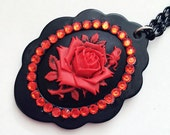 Gothic Rose Cameo - rhinestone options