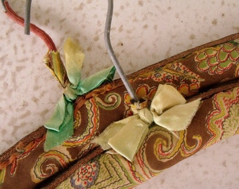 Vintage Clothing Hangers Retro Fabric Covered Padded Clothes Hanger 60s