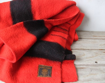 Hudson Bay Early Whitney Four Point Wool Red Blanket