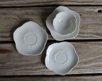 Set of 3 Porcelain Lotus Plates / Saucers