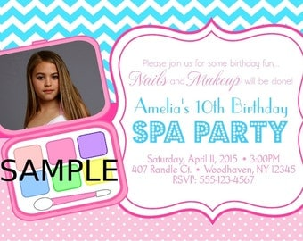 Spa Makeup Diva  party invitation your photo ,Invitation or thank you Custom Personalized Digital File, DIY Printable