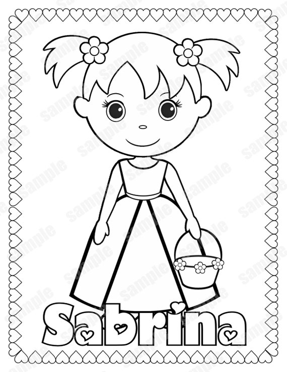 printable flower girl or ring bearer wedding activity book coloring book reception favor kids personalized pdf or jpeg template - Flower Girl Coloring Book