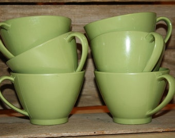 Vintage Melmac Cups - Set of Six - Green - Plastic Dishware - Retro Kitchen