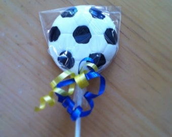 12 Soccer Ball Chocolate Lollipops