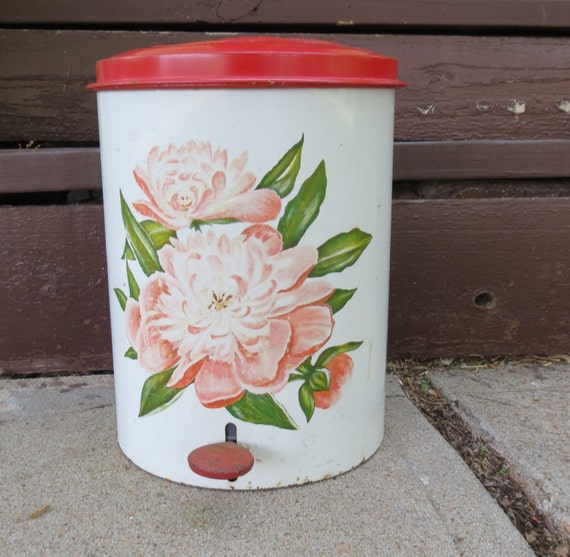 Vintage trash can pink peonies decoware pop up lid kitchen - Pink kitchen trash can ...