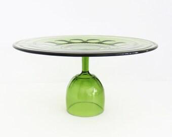 SALE - Green glass wedding cake stand - 13-inch cake plate on pedestal - Cake Platter - Truffle pedestal Cupcake stand