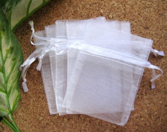 "3"" x 4"" White Organza Bags for Party Favors, Baby Shower Favors, Gift Bags, Saches, Wedding Favor, Jewelry, 12 pcs"