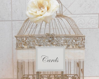 Large Champagne Gold Wedding Birdcage Card Holder / Wedding Card Box / Wedding Card Holder / Wedding Birdcage