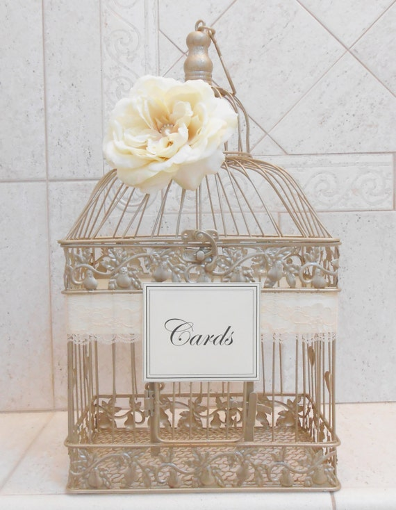large champagne gold wedding birdcage card holder wedding