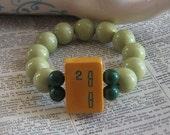 Number 2 Sage and Dark Green Mah Jong Tile Bracelet