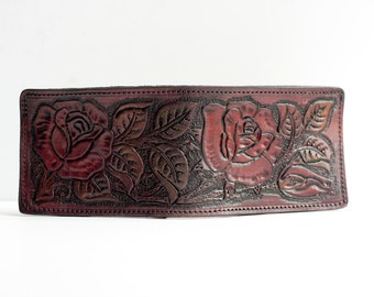 READY TO SHIP / Leather Wallet / Roses / Hand Tooled