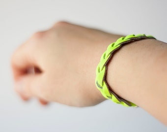 Braided Leather Bracelet / Neon Yellow