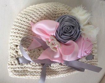 Baby cream Crochet Hat ,beanie, satin rosettes Fits infants ,Baby shower .