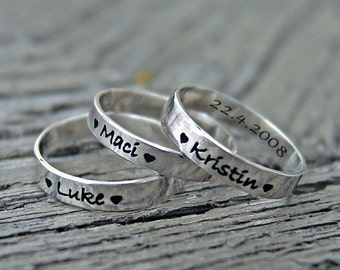 Mothers rings, 3mm stackable rings, personalized mothers jewelry, set of rings, quote rings, names rings, engraved rings, kids names rings