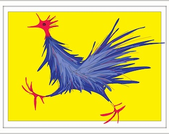 Print – Blue Rooster