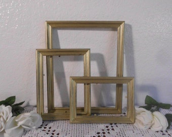 Gold Frame Set Rustic Shabby Chic Distressed Picture Photo Hollywood Regency Country Cottage Home Decor Wedding Reception Decoration Gift