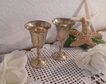 Vintage Silver Wedding Shot Glass Set Two Bride Groom Pair Toast Shower Barware Footed Stemmed Entertaining Gift Him Her Hollywood Regency