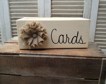 Shabby Chic Ivory and Black Wedding Cards Box with Burlap Flower Embellishment Wooden Cards Holder