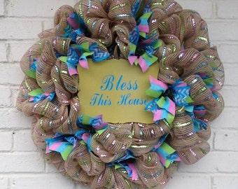 Jute Metallic Bless This House Wreath