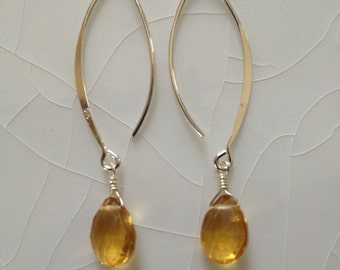Citrine Faceted Pear/Briolette Drops and Sterling Silver Hoop/Dangle Earrings