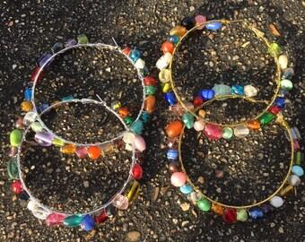 Jewelia Muliti Colored Stone Hoops