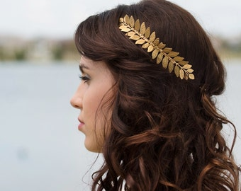 Grecian Gold Tone Brass leaf hair comb