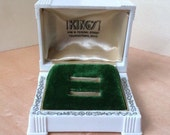 Reserved for Mhibel1 Deco Ring Box Gilt Floral Celluloid Wedding Set Display Green Velvet Vintage Ohio