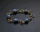Matte blue and silver handmade bracelet