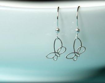 Openwork Butterfly Dangle Earrings in Sterling Silver