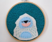 Yeti Felt Wall Art in Embroidery Hoop