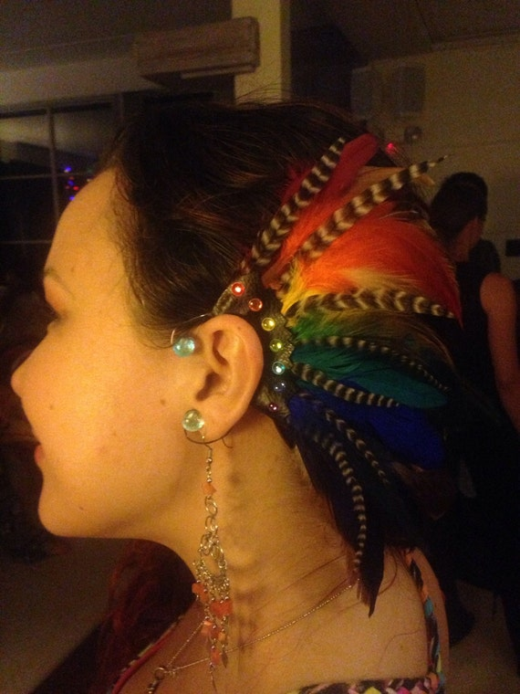 Over the rainbow - Customizable Feather Ear-Wing / ear cuff / ear hawk