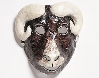 Paper mache ram mask