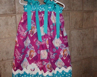 Girls Dress  Pillowcase style....Frozen Sisters Forever ...sizes 0-3, 0-6, 6-12, 12-18, 18-24 months, 2T, 3T