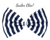 Navy blue & white stripe nautical sailor large hair bow on clip, pin up