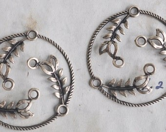 Brass Circles with leaves, hoop earrings, Brass Ox, TWO