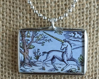 Unicorn Silver Necklace, Charm Necklace, Vintage Art Silver Soldered Glass Pendant Charm Necklace