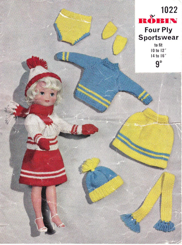 Knitting Patterns For Teenage Dolls : Vintage 1960s Knitting Pattern for Teenage Doll Outfit for a
