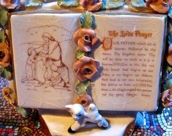 Take 30% OFF Vintage Pink Roses & Lamb With Bible Lords Prayer Vase