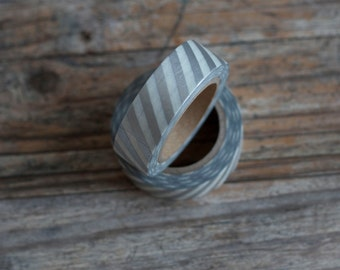 Japanese Washi Tape - Masking Tape Roll in Silver and White Oblique Stripes
