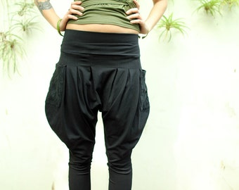 Drop Crotch Pants, Harem Pants, Black Women Pants, Yoga Pants