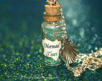 Mermaid Tears Bottle Necklace, Sea Shell Charm, Disney Jewelry, Pirates of the Caribbean Stranger Tides, Mermaid Necklace, Mermaid Jewelry