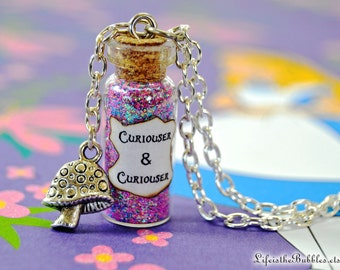 Alice in Wonderland Necklace, Curiouser and Curiouser Magic Necklace with a Mushroom or a Cheshire Cat Charm, Alice Cosplay Disney Bound