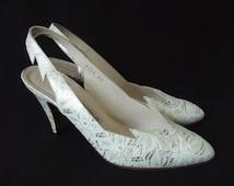 UK 5 Vintage 80s silver white lace print ponted slingback shoes stiletto heels EU 38 US 7