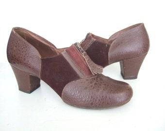UK 4-5 Vintage 1940s brown moc croc zip up shoes by Modern Miss EU 37/38 US 6/7