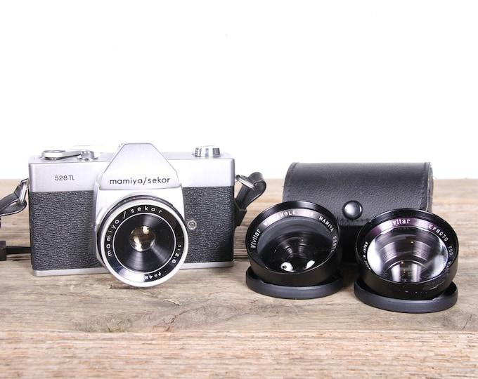 Vintage Mamiya Sekor 528TL SLR Camera with Case and Lenses / Closeup and Wide Angle Lens / Vintage Slr Camera / Antique Camera / Student