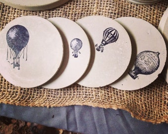 Concrete Coasters- Hot Air Balloon Series, Wedding Gift, Housewarming Gift, Functional Art, Gift under 40